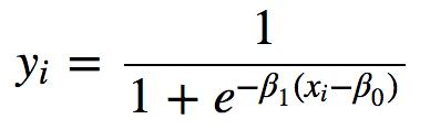 y_i = \frac{1}{1+e^{-\beta_1(x_i-\beta_0)}}